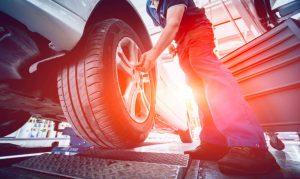 foto di gomma per auto installata